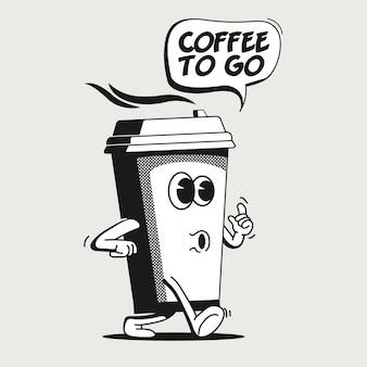 Caffè per andare o portare via il concetto con il carattere della tazza di caffè di carta del fumetto ambulante dell'annata