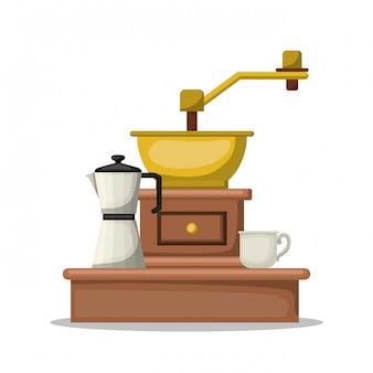 Progettazione della tazza e del bollitore del macinacaffè, illustrazione di vettore di tema del ristorante e del negozio della bevanda della bevanda della prima colazione della bevanda