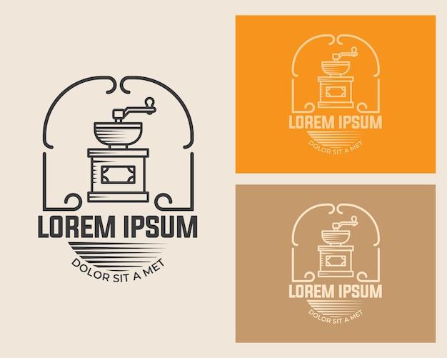 Modello di illustrazione del macinacaffè con design vintage in stile retrò isolato su sfondo bianco