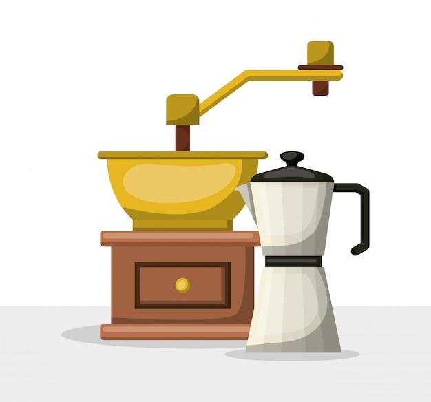 La progettazione del bollitore e del macinacaffè, il ristorante del forno della bevanda della prima colazione della bevanda e l'illustrazione di vettore del tema del negozio