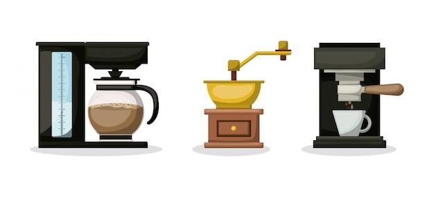 La macchina del macinacaffè e la progettazione del vaso, bevono la prima colazione del ristorante del forno della bevanda e l'illustrazione di vettore di tema del negozio