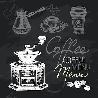 Insieme di progettazione della lavagna disegnata a mano del caffè. texture gesso nero