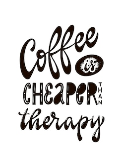 Citazione di lettering mano caffè