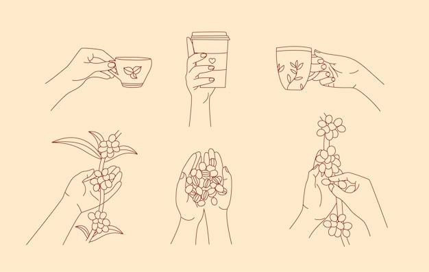 Set per la raccolta e la preparazione del caffè in un design di contorno