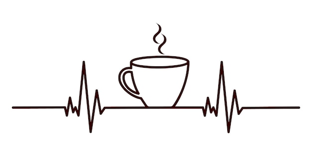 Concetto di battito cardiaco del caffè linea cardiogram e tazza di tè espresso o cioccolata calda con fumo aromatico