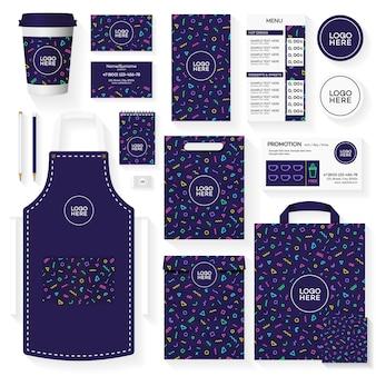 Disegno del modello di identità corporativa della caffetteria con motivo geometrico di colore memphis.