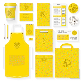 Modello di identità corporativa della caffetteria con motivo geometrico giallo di memphis
