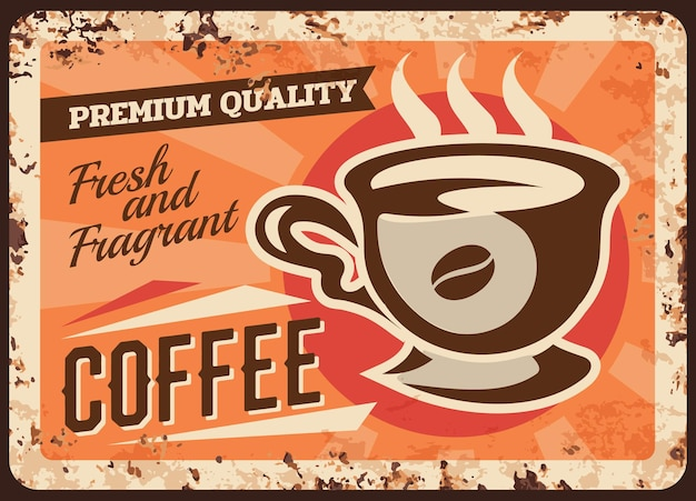 Piastra di metallo arrugginito bevanda fresca del caffè