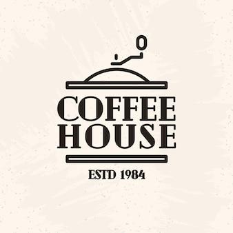 Stile della linea del logo della casa del caffè isolato su priorità bassa bianca per il caffè