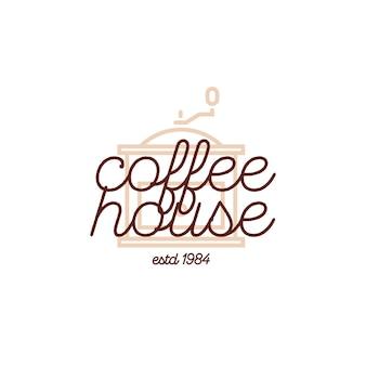 Logo della casa di caffè con macchina per il caffè isolato su priorità bassa bianca per il mercato