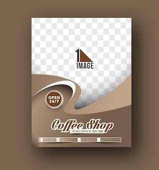 Modello di volantino, copertina di una rivista e poster per carta del menu della caffetteria