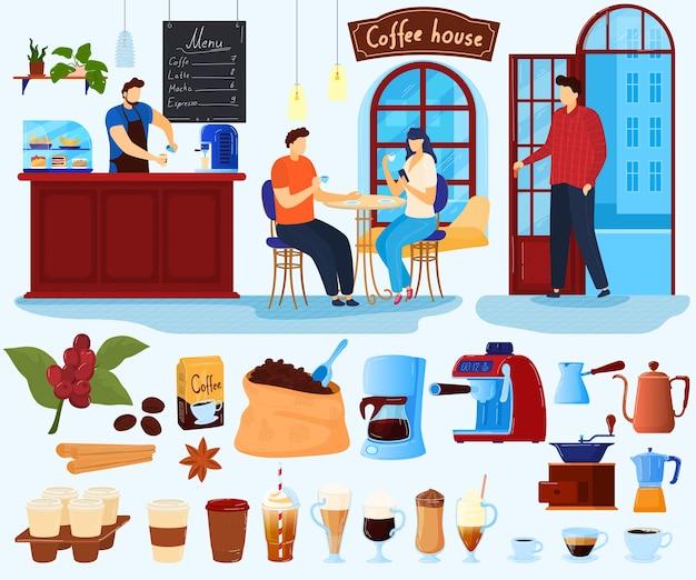 Insieme dell'illustrazione di vettore della casa del caffè, carattere piatto dell'amante del caffè del fumetto che beve, barista fa il menu della bevanda fresca calda