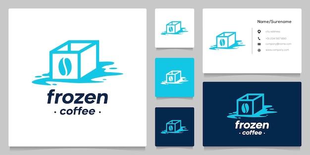 I cubetti di ghiaccio al caffè si sciolgono logo design semplice idea con biglietto da visita