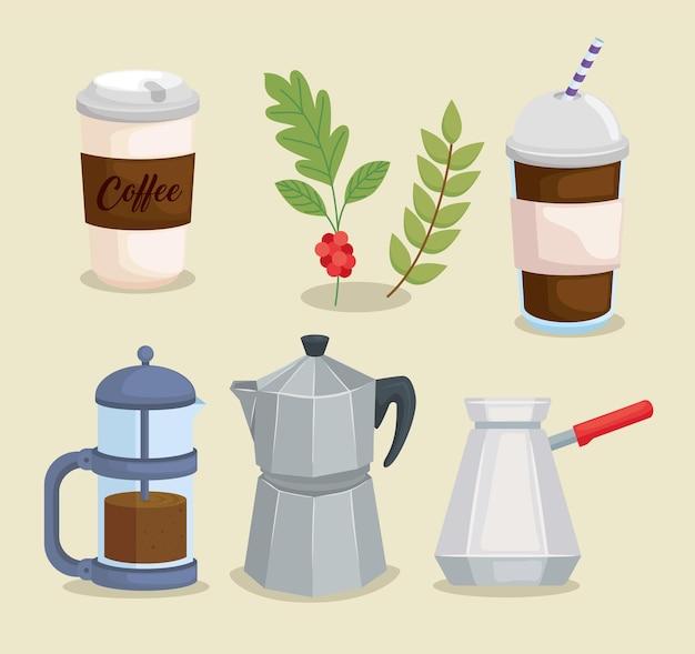 Collezione di icone del caffè