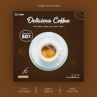 Modello di post instagram di caffè