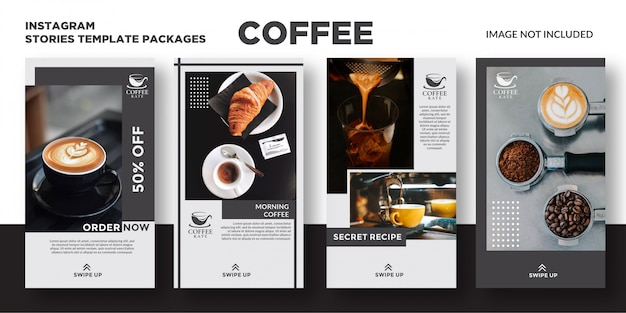 Modello di storie di caffè instagram Vettore Premium