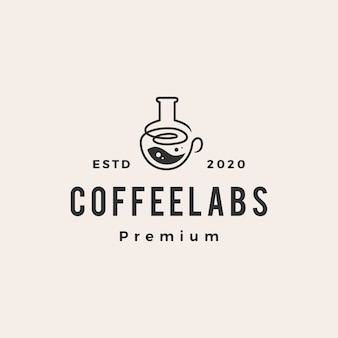Illustrazione dell'icona di logo vintage hipster di laboratorio di caffè