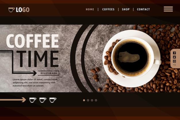 Modello di pagina di destinazione del caffè