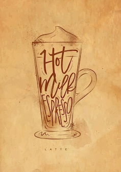 Schiuma di lettering tazza di caffè latte, latte caldo, caffè espresso in stile grafico vintage disegno con artigianato