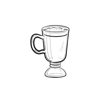 Icona di doodle di contorni disegnati a mano caffè latte. delizioso caffè latte con schiuma montata in un'illustrazione di schizzo di vettore di vetro alto per stampa, web, mobile e infografica isolato su priorità bassa bianca.