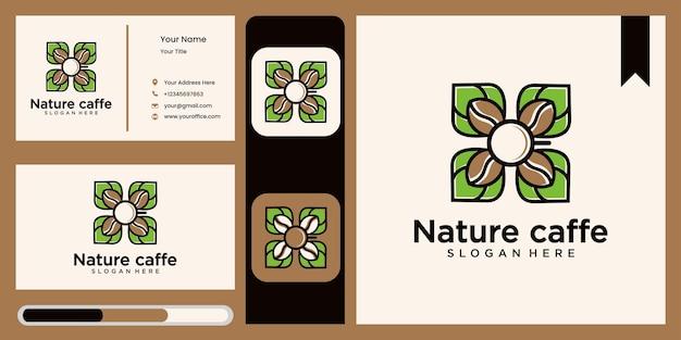 Insieme di vettore del logo della foglia di caffè, modello di progettazione del logo del logo della natura simbolo astratto della foglia verde per la caffetteria in stile naturale, confezione di caffè naturale e biologica con aspetto naturale
