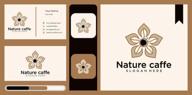 Insieme di vettore del logo della foglia del caffè, modello di progettazione del logo del logo della natura simbolo astratto della foglia verde per la caffetteria nello stile della natura, imballaggio del caffè naturale e biologico con naturale