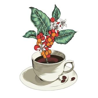 Foglie di caffè e bacche in tazza illustrazione