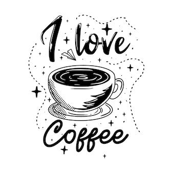 Coffee lettering tipografia poster citazioni motivazionali illustrazione