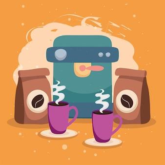 Macchina da caffè e sacchetti