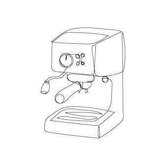 Disegno a linea continua della macchina da caffè una linea d'arte della macchina da caffè elettrica da cucina per caffè