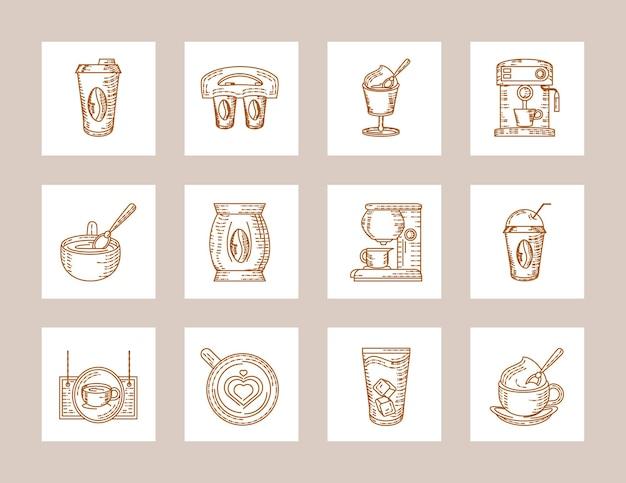 Icone di semi di tazze di macchina da caffè