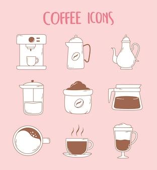 Icone della teiera e della tazza della stampa francese della tazza del caffè espresso della macchina da caffè nell'illustrazione al tratto marrone