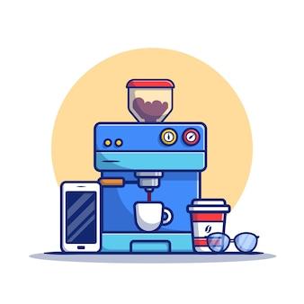 Illustrazione dell'icona del fumetto di macchina da caffè, tazza, tazza, telefono e occhiali macchina da caffè icona concetto premium. stile cartone animato