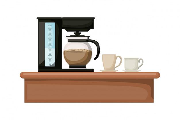 Il vaso e la tazza della macchina del caffè progettano, bevono la prima colazione del ristorante del forno della bevanda e l'illustrazione di vettore di tema del negozio