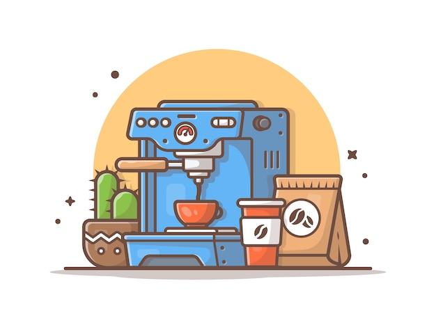 Macchina da caffè con illustrazione vettoriale di cactus, tazza e chicchi di caffè