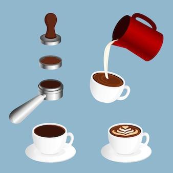 Caffettiera, illustrazione di latte