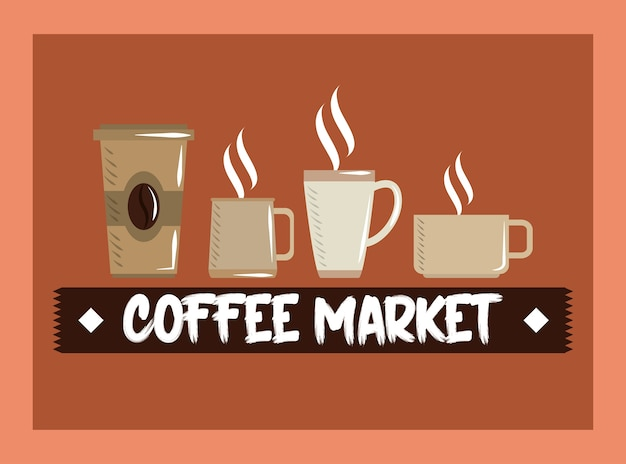 Illustrazione di vettore della bevanda calda del mercato del caffè, della tazza usa e getta e delle tazze di ceramica