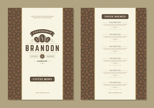Modello dell'opuscolo di progettazione del menu del caffè