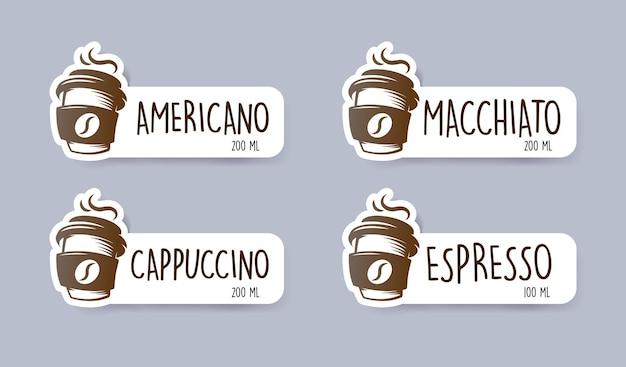 Autoadesivi del menu del caffè