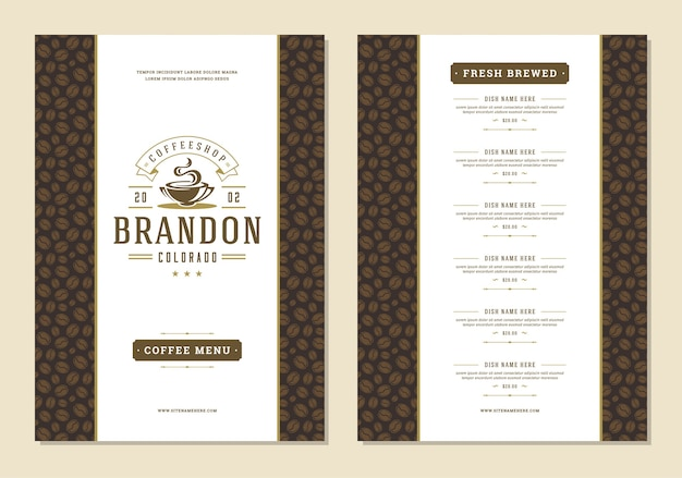 Volantino di progettazione del modello di menu del caffè per bar o caffetteria