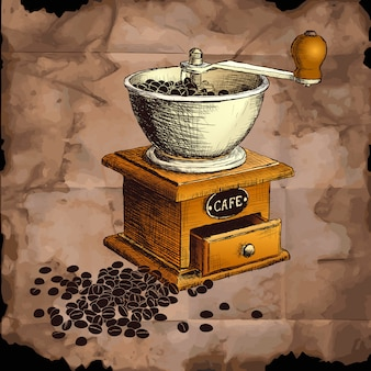 Macinacaffé. illustrazione disegnata a mano