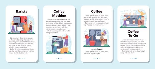 Set di banner per applicazioni mobili per caffè barista che prepara una tazza di caffè caldo