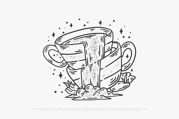 Illustrazione di caffè monoline