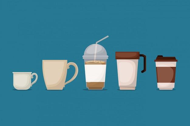 Le tazze da caffè progettano, bevono il ristorante del forno della bevanda della prima colazione della bevanda e l'illustrazione di vettore di tema del negozio