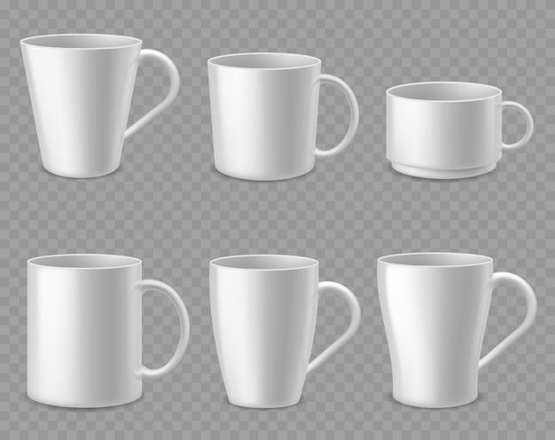 Tazze da caffè su sfondo trasparente