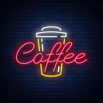 Insegna al neon del caffè.