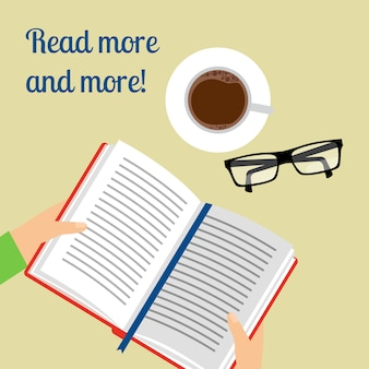 Caffè e poster libro aperto