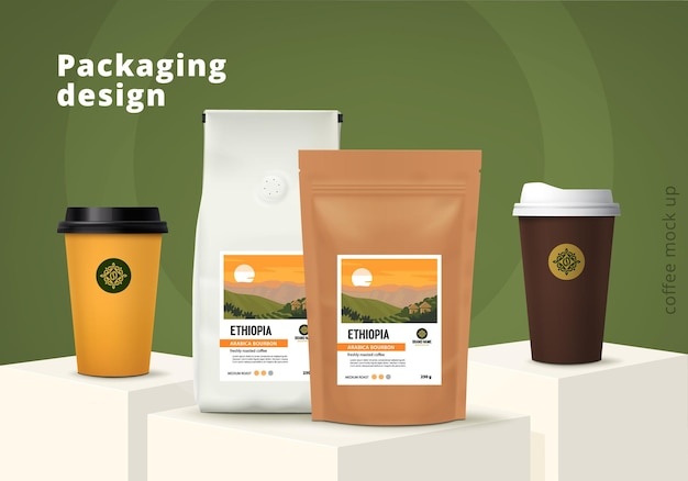 Insieme di progettazione del modello di imballaggio del caffè mockup realistico illustrazione vettoriale