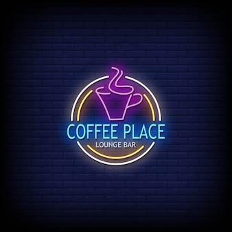 Coffee place insegne al neon stile testo