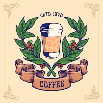 Emblema di vetro della tazza della pianta del caffè